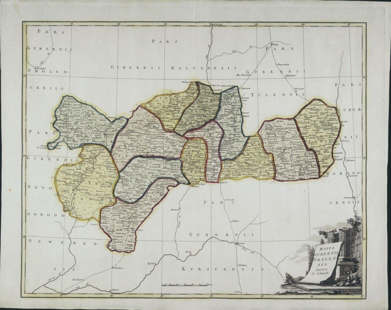 1750. Карта Орловской губернии
