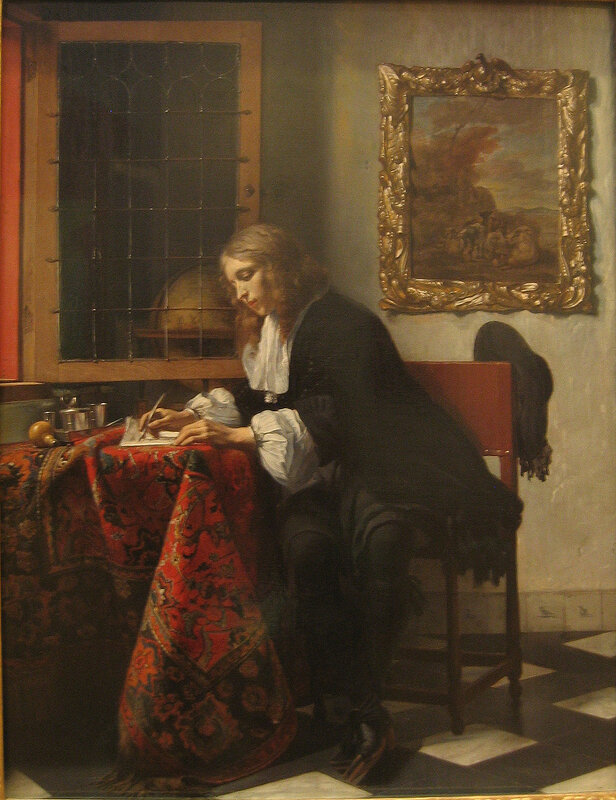 Метсю. Молодой человек, пишущий письмо.