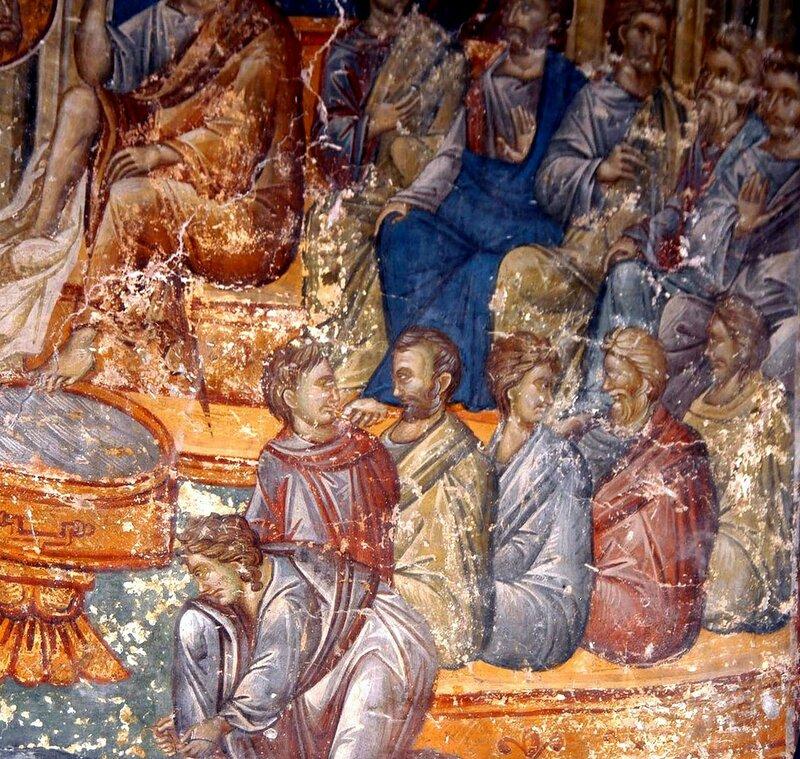 Омовение ног. Фреска церкви Св. Николая Орфаноса в Салониках, Греция. XIV век. Фрагмент.