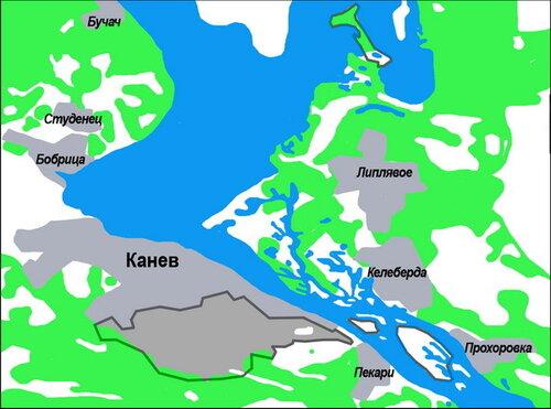 Карта-схема Каневского природного заповедника.