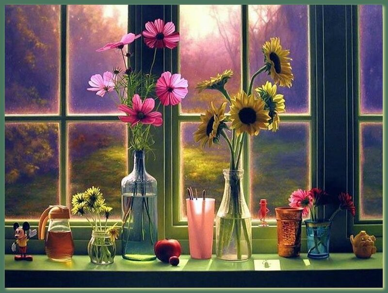 Scott Prior Flowers in Morning Window.