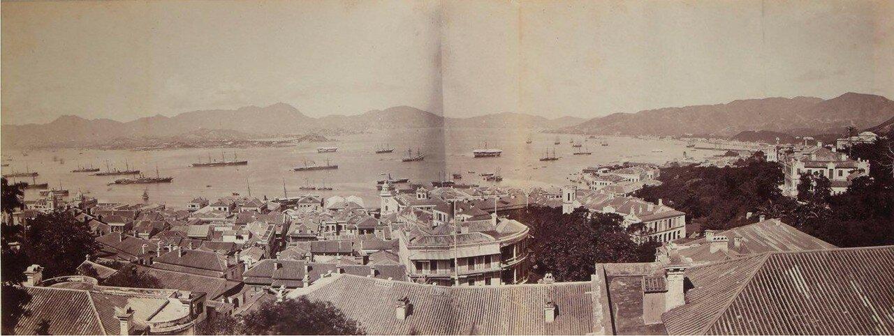 1880. Панорама Гонконгской гавани