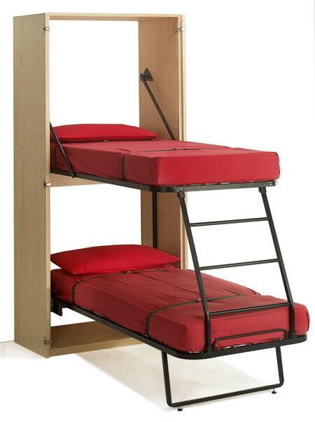 """Эта вертикальная двухэтажная кровать  """"Ledo """" занимает мало"""