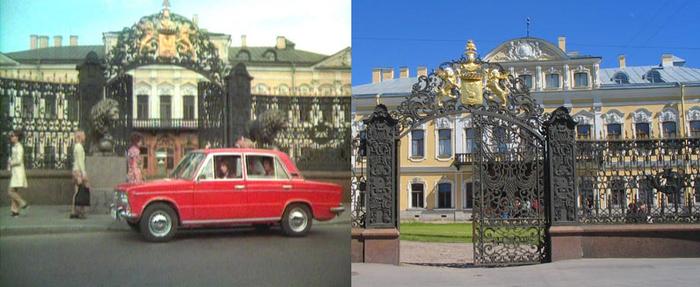 7. Потом — к Шереметьевскому дворцу, Фонтанному дому. Перед воротами никаких львов нет и не было. По