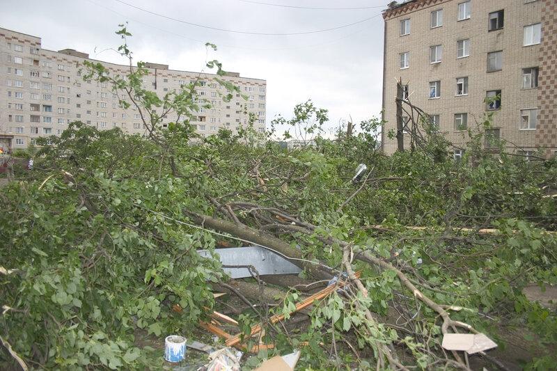 Последствия урагана в краснозаводске