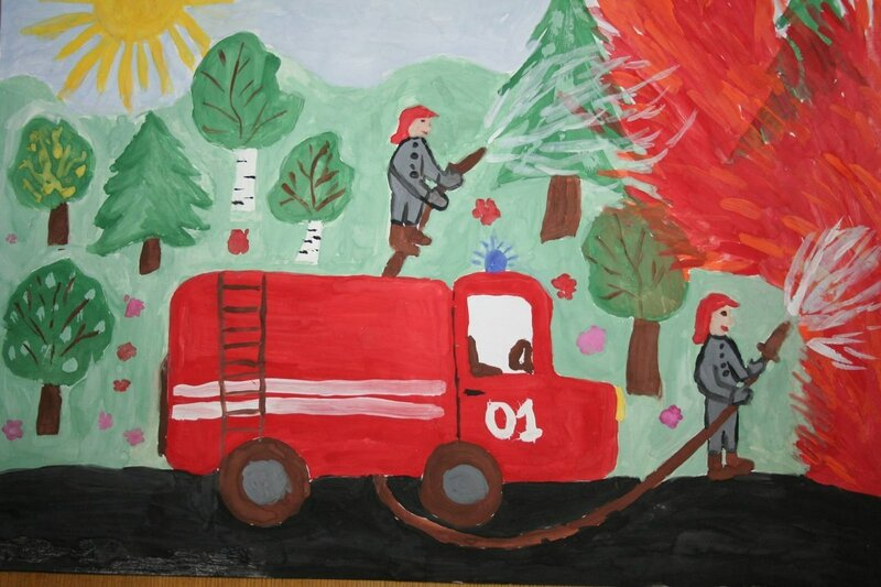 Рисование пожарной машины в подготовительной группе временем