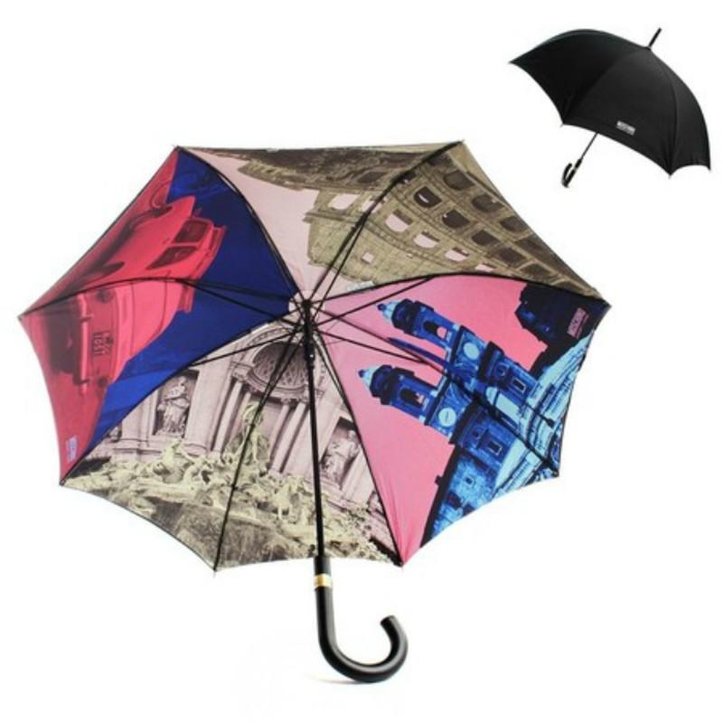 15. Зонт «Города» Внешне это обычный черный зонт, но с внутренней стороны — красочные картины городо