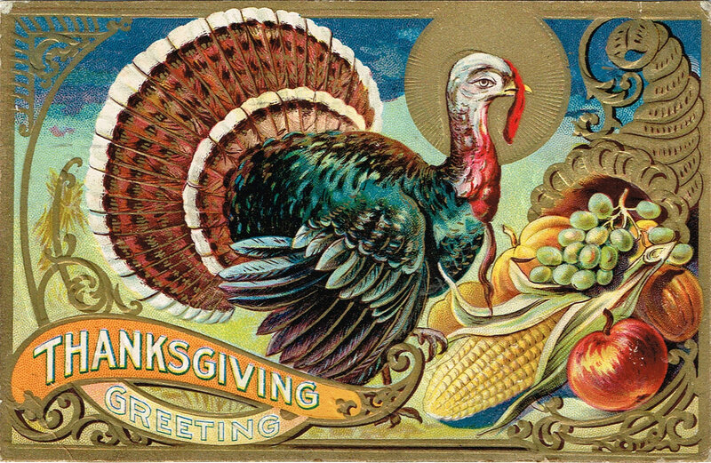 День благодарения открытка, первые шаги