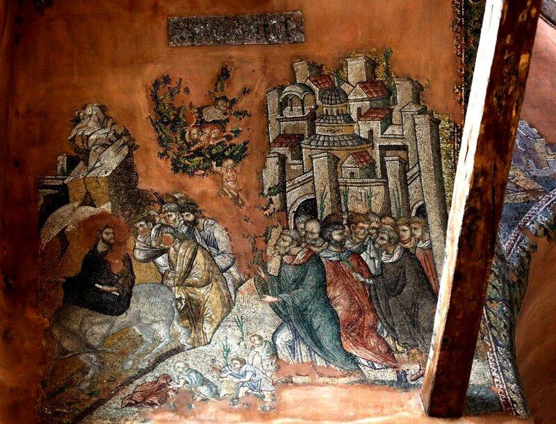 Вход Господень в Иерусалим. Мозаика церкви Святых Апостолов в Салониках, Греция. XIV век.