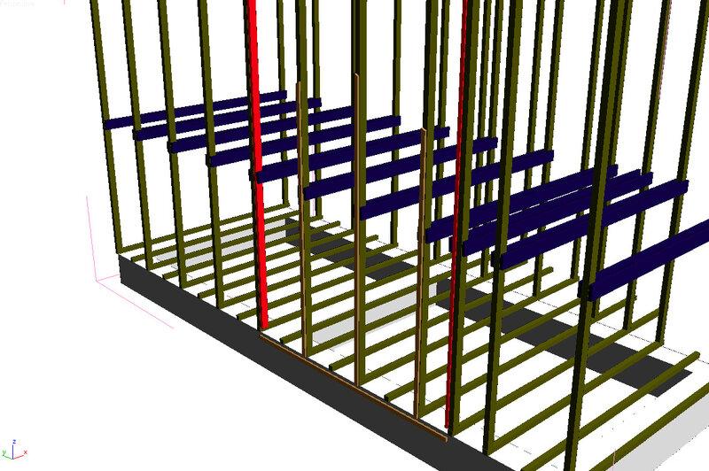 стойки вертикальные и горизонтальные балки второго этажа.