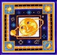 Луна, солнце, планеты.  Вышивка крестом, схемы.