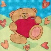 Вышивка крестиком - Мишка с сердцем.