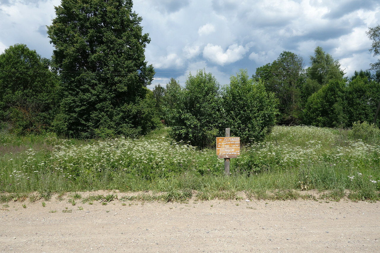 самодельный указатель в деревне Донец