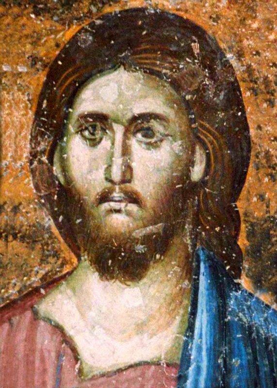 Лик Спасителя. Фрагмент фрески в церкви Святой Троицы в монастыре Сопочаны, Сербия. XIII век.