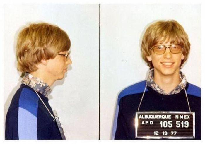 Арестованный за вождение без прав Билл Гейтс, 1977 год.