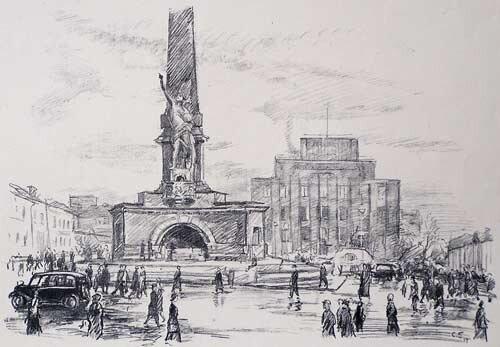 Соломон Боим. Площадь у Моссовета в 1937 г. Памятник Свободе