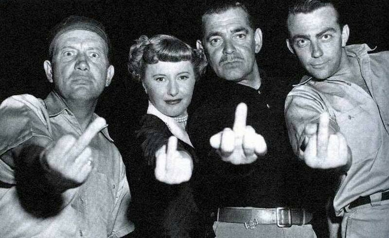 Barbara Stanwyck, Clark Gable and friends flip the bird..jpg