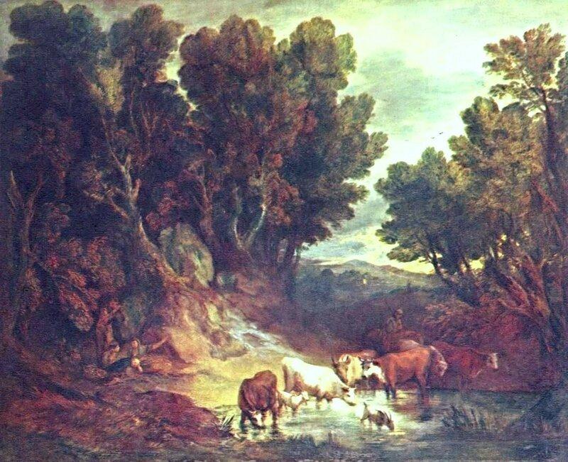 Гейнсборо Томас(14 мая1727 — 2 августа 1788). Водопой. 1777. Рококо. Великобритания.Национальная галерея. .jpg
