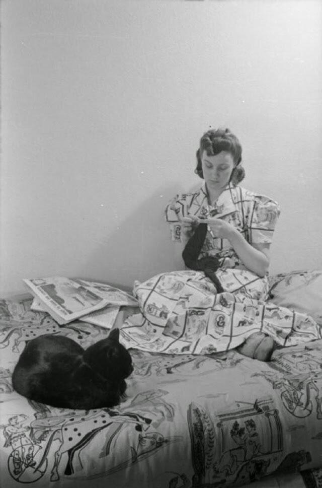 26. Пока готовится ужин, миссис Дэй сидит на кровати с шитьем и газетой