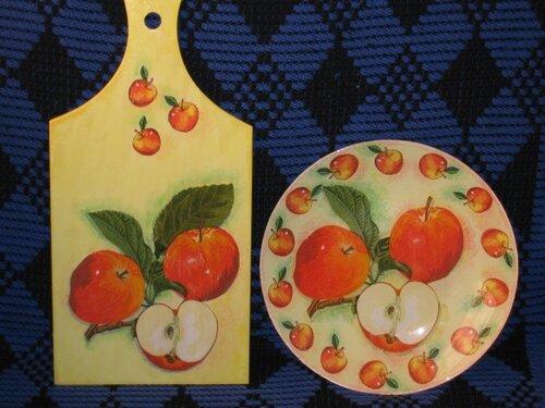 Рисунок на доске разделочной фрукты