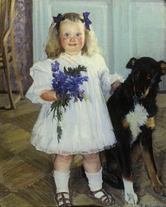 Кустодиев Борис Михайлович. Портрет Ирины Кустодиевой с собакой Шумкой. 1907