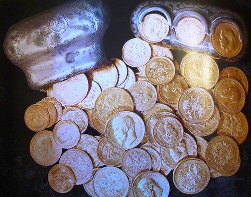 Монеты. Золото, гравировка. Россия, конец XIX-начало ХХ веков