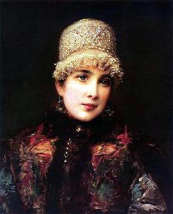 Константин Маковский. Russkaya krasavica v kokoshnike 1890