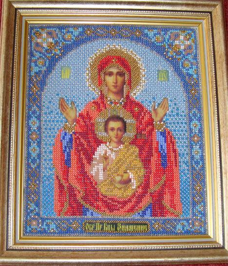 Православная икона Знамение, двойной багет.  Освящена в церкви Покрова на рву.