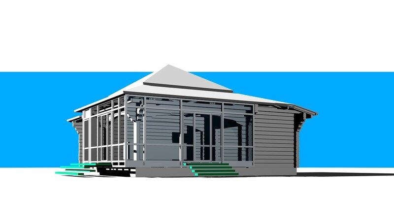 Перспективный вид сооружения. Широкие рамы остекления парника-розария. Остеклённая Терраса, летний домик с вспомогательными помещениями. Оранжерея, розарий.