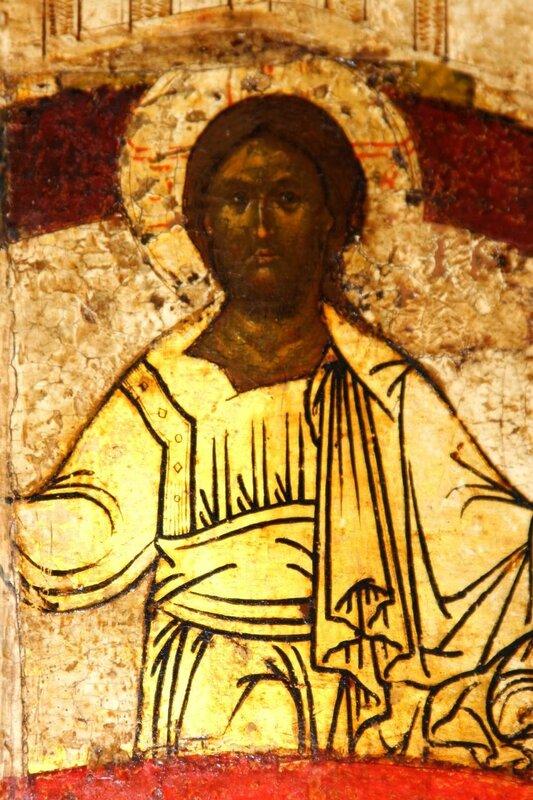 Покров Пресвятой Богородицы. Икона. Новгород, около 1399 года. Фрагмент.