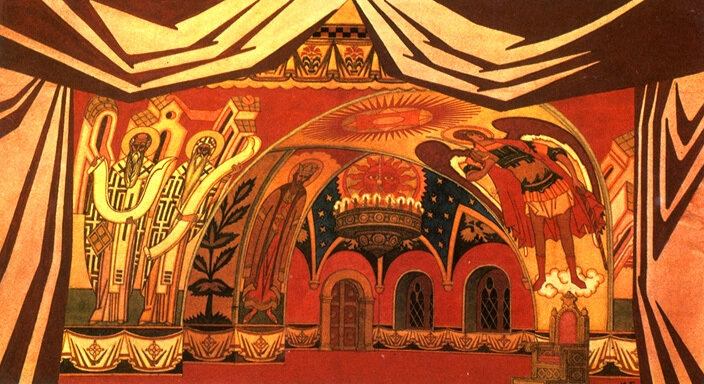 Stage-set design for Act Four of the opera The Tsar's Bride by Rimsky-Korsakov. 1930