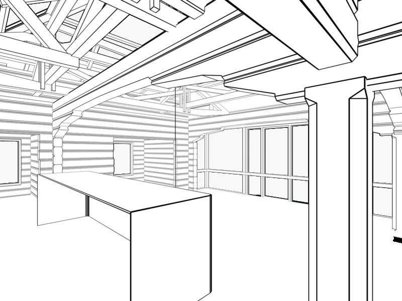 Разделочный стол в кухне нише в гостиной, обрамление кухни сводчатой рамкой в «Деревенском стеле». Остеклённая Терраса, летний домик с вспомогательными помещениями. Оранжерея, розарий.