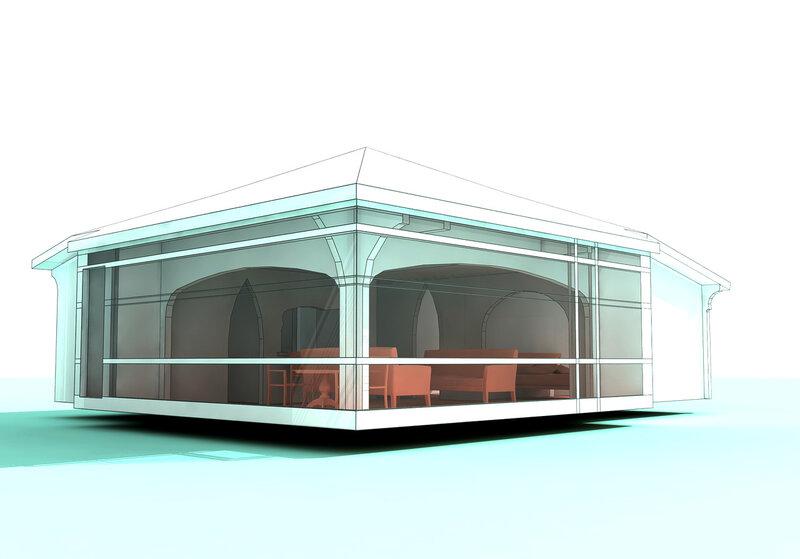 Вар. 2. День первый. Остеклённая Терраса, летний домик с вспомогательными помещениями. Оранжерея, розарий.