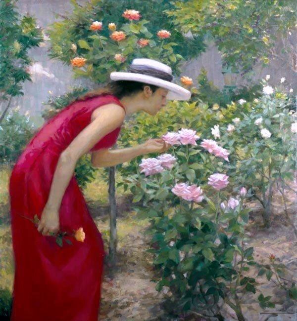 """Предпросмотр - Схема вышивки  """"Девушка и розы """" - Схемы автора  """"vlasovka """" - Вышивка крестом."""