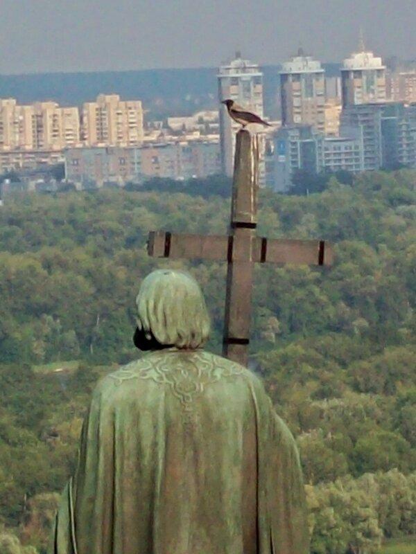 Ворона на кресте памятника Владимиру