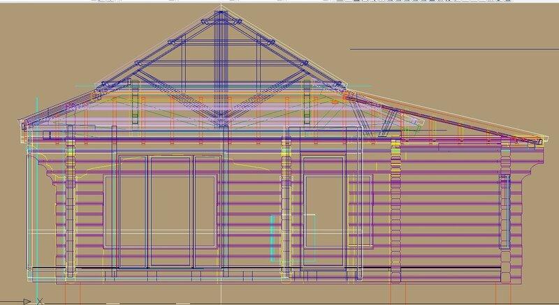 Вар. Фронтальная проекция всех конструкций. Остеклённая Терраса, летний домик с вспомогательными помещениями. Оранжерея, розарий.