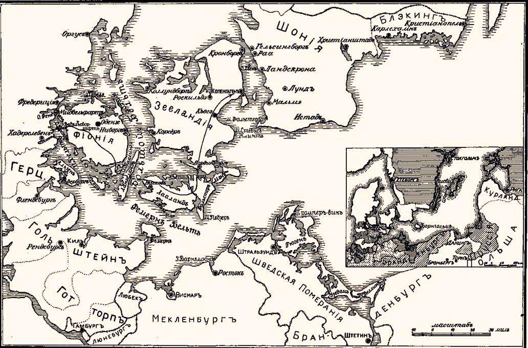 Прибалтийские государства в 1655 AD.