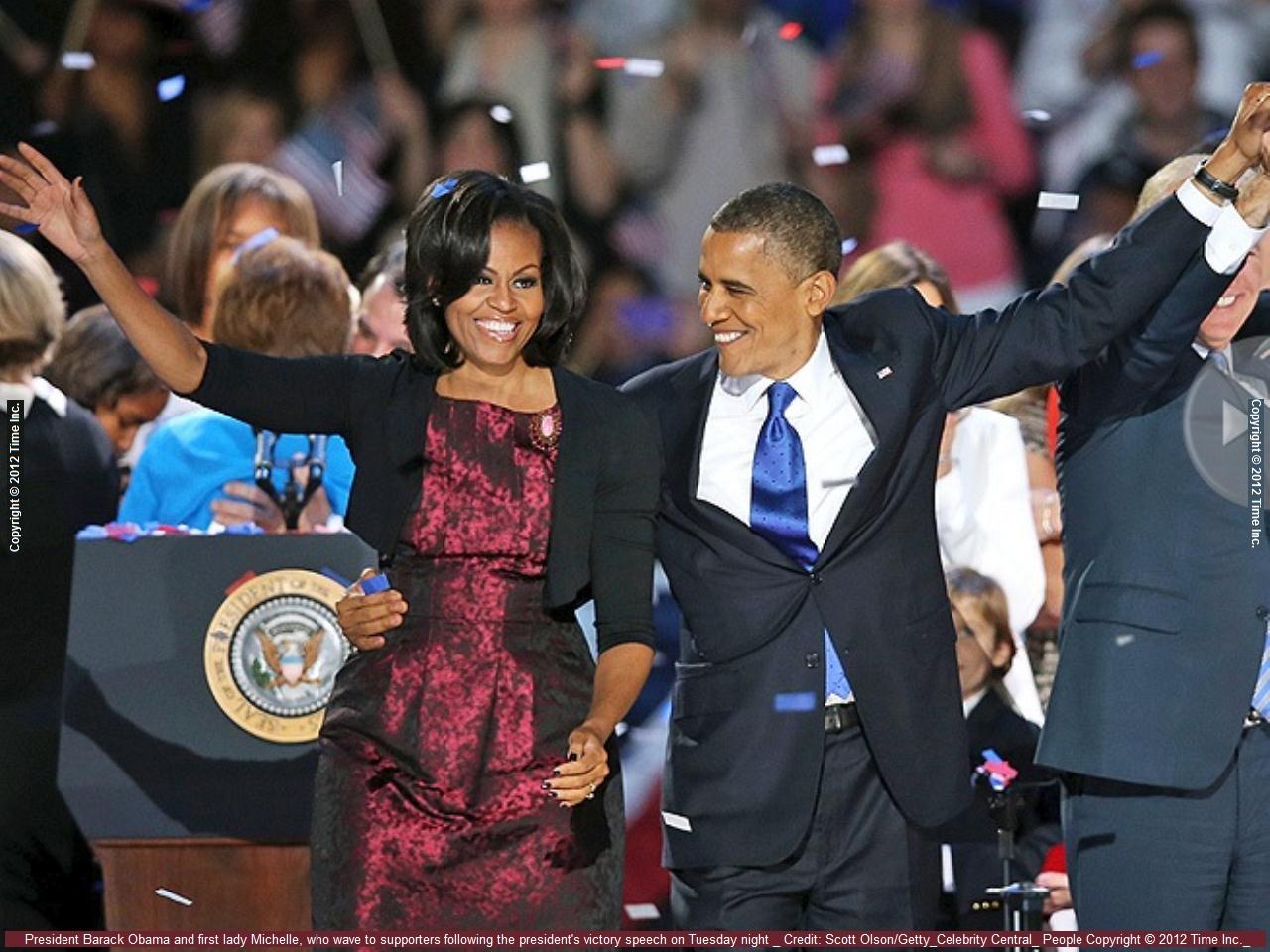Барак  и Мишель Обама в день и ночь победы в выборах на второй срок.