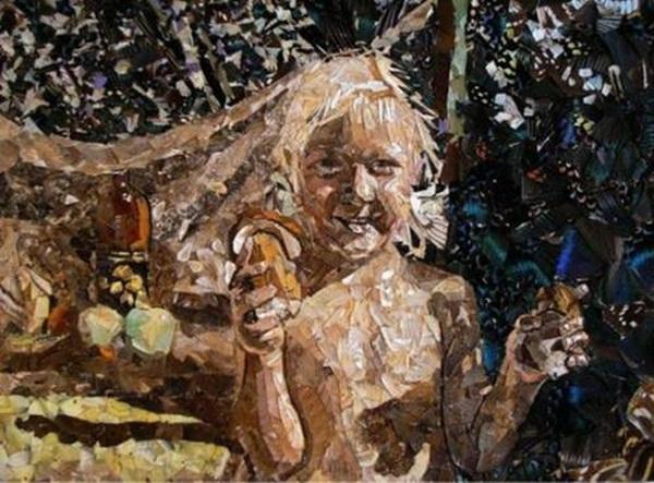 Работа Вадима Зарицкого. Натюрморт из крыльев бабочек