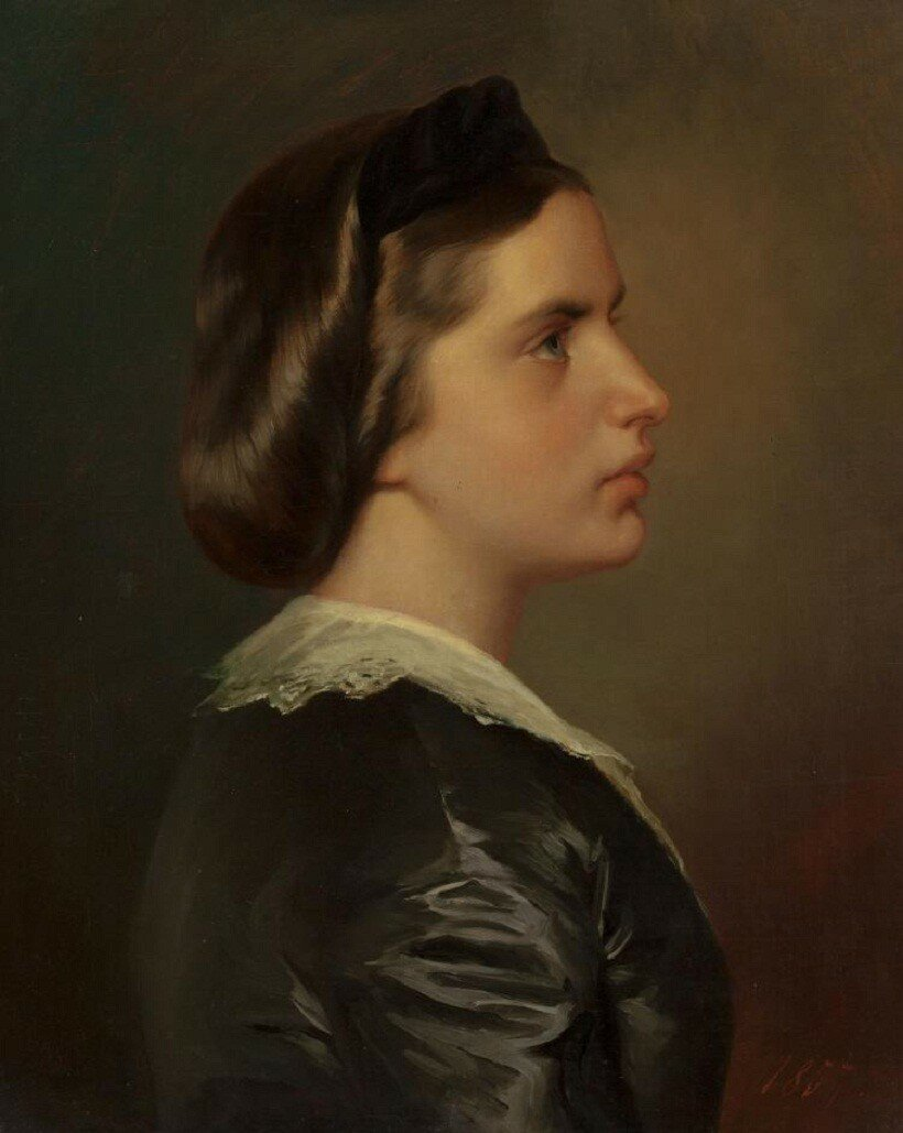Винтерхальтер (немецкий, 1805-1875) Портрет молодой женщины в профиль, около 1867