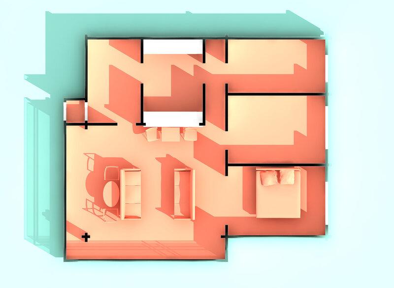 Вар. 2. План вид сверху. Остеклённая Терраса, летний домик с вспомогательными помещениями. Оранжерея, розарий.