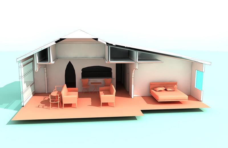 Вар. 2. Сечение 3d. по гостиной-оранжерее. Остеклённая Терраса, летний домик с вспомогательными помещениями. Оранжерея, розарий.