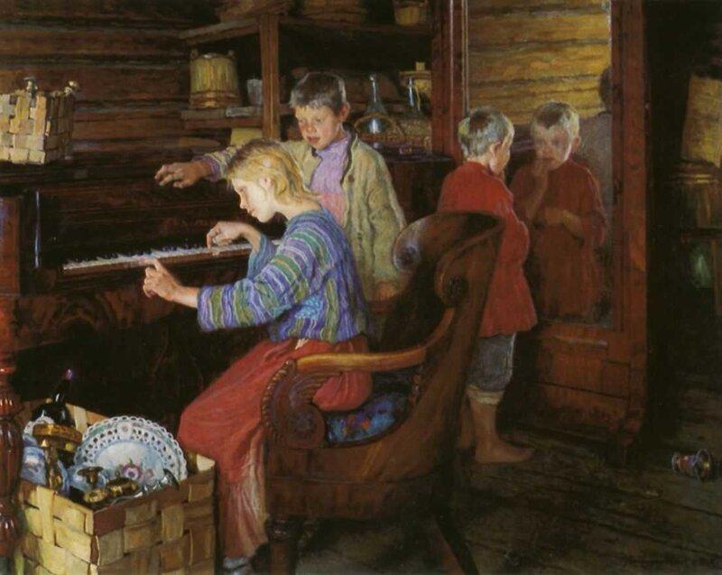 Богданов-Бельский Николай. Дети за пианино. 1918