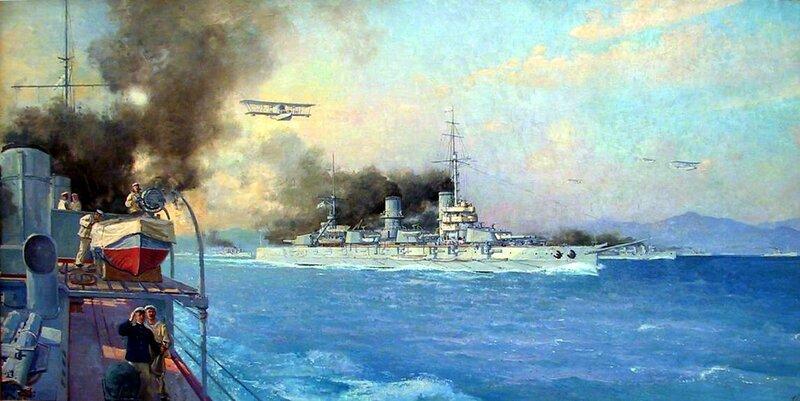 Черноморский флот в море. Конвой, 1916 г. С.В. Пен