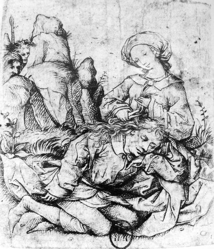Delilah cutting Samson's hair, ca 1470-1475 (LL cat 6)