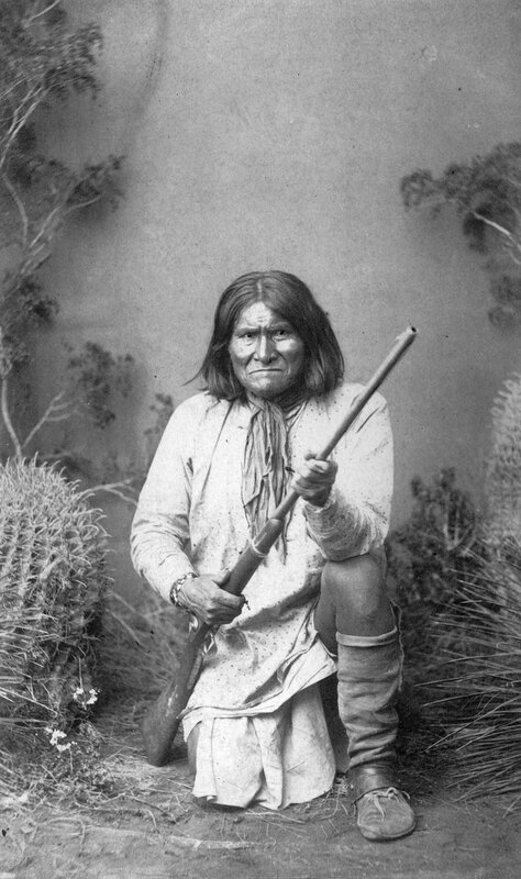Geronimo head cheif (i. e. chief) of the Chiricahua Apaches now on the war path in Seirra (i. e. Sierra) Madres, 1885