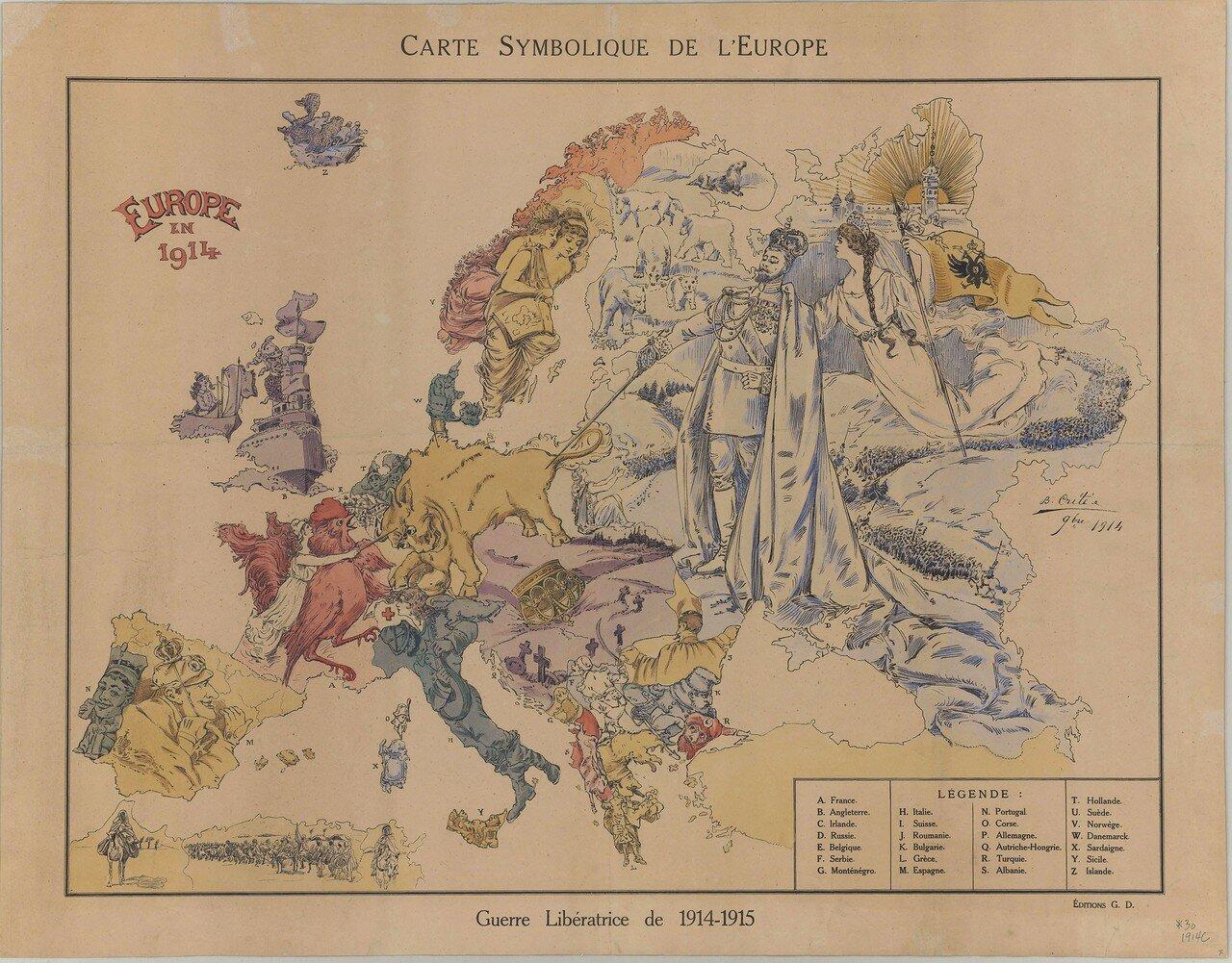 1914. Символическая карта Европы. Париж