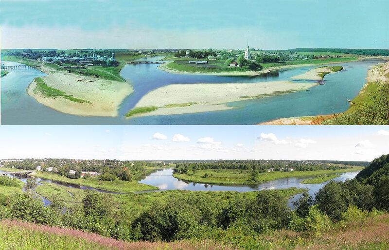 Панорама Зубцова в 1910 и 2008 гг.