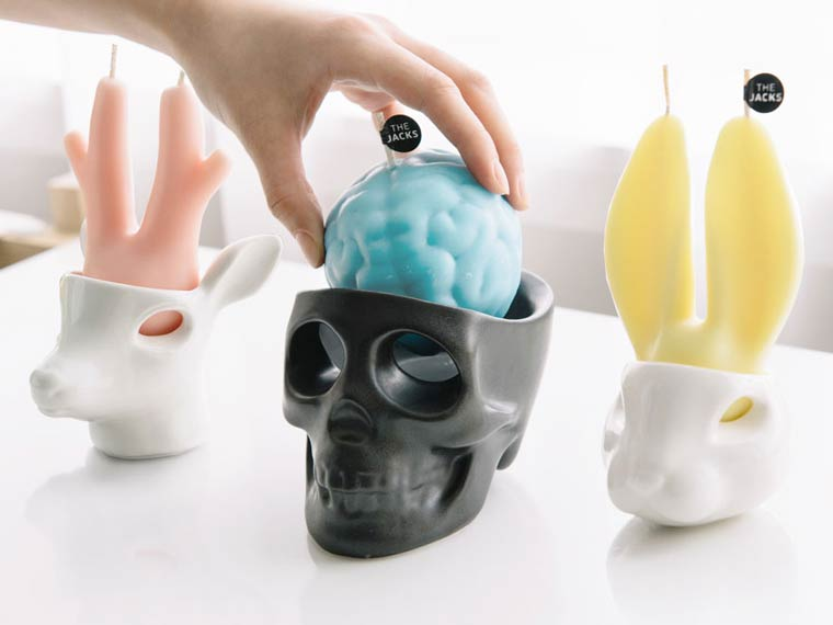 The Jacks - Beautiful scented candles shaped as crying skulls and animals