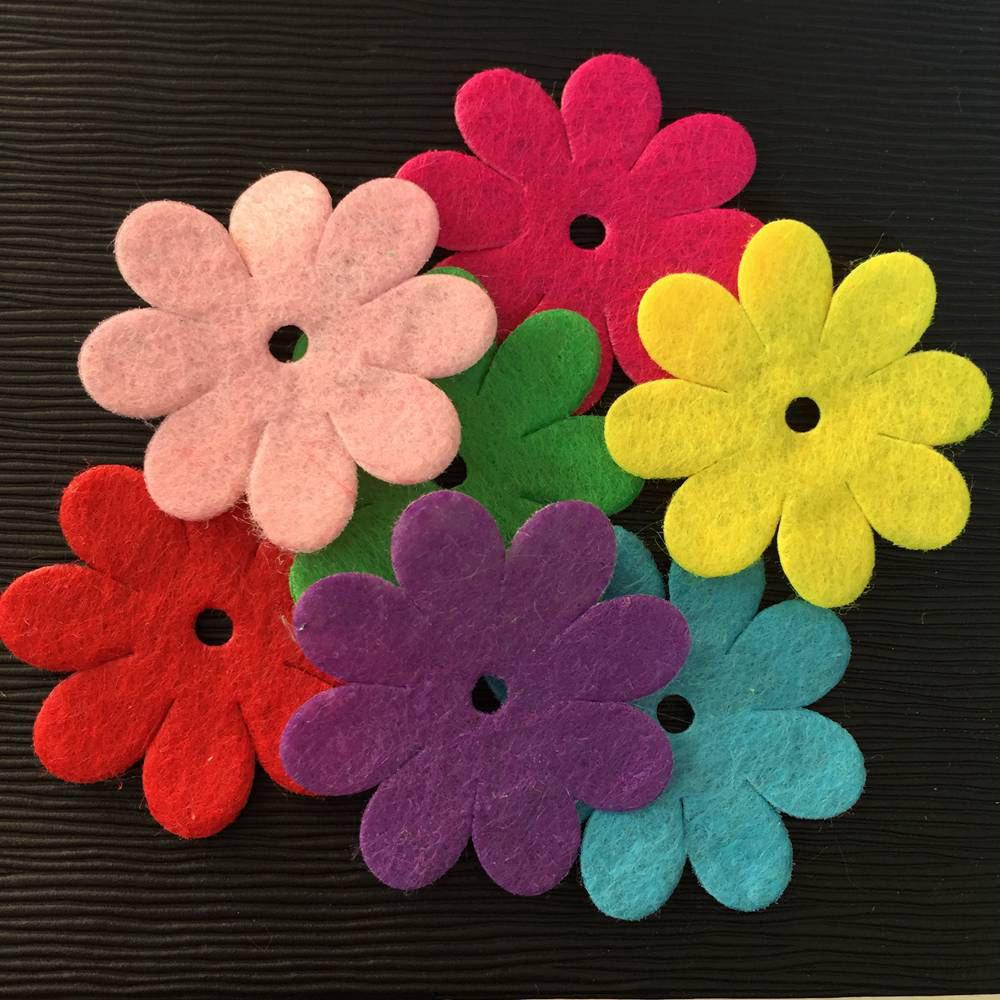 NEW 50PCS mix 40mm Padded Felt Spring Flower Appliques Crafts Wedding making DIY